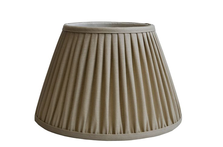 Sand linen gathered pleat on a Straight empire lampshade