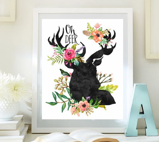 Flower design with deer wall art floral wall painting for living room cool wall art ideas to print for baby girl nursery wall hanging 63-63 – Blakelee
