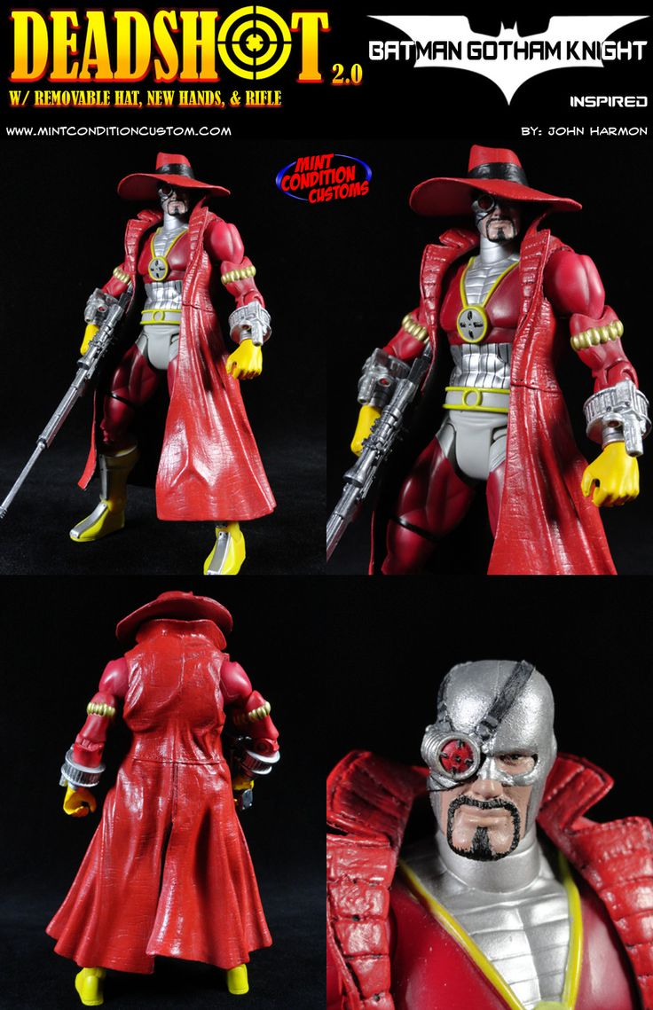 "Deadshot is the result of an amalgam of inspiration, mostly from the animated film Gotham Knight, but also from the Arkham City video game. I loved Deadshot's design in Gotham Knight, with his big hat and trench coat, so I took a ML Nick Fury coat and repainted it, and the hat is from a Mezco The Spirit ""Octopus"" figure, also repainted."