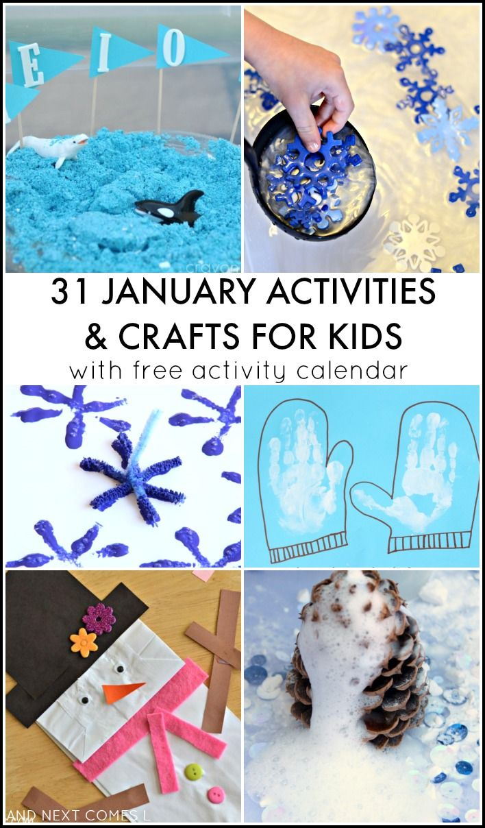 31 January crafts and activities for kids with free downloadable activity calendar from And Next Comes L