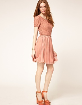 lace and pleat dress by oasis
