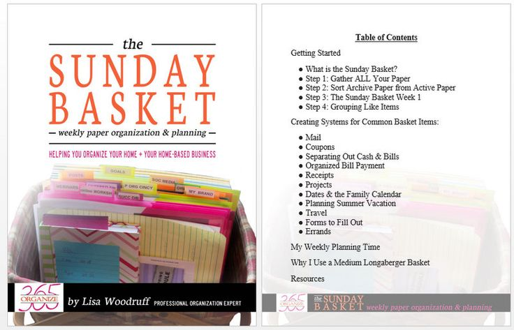 Your Step-By-Step Guide - The Sunday Basket eBook | Professional Organizer Lisa Woodruff shares her weekly paper organization and planning tool - the Sunday Basket.
