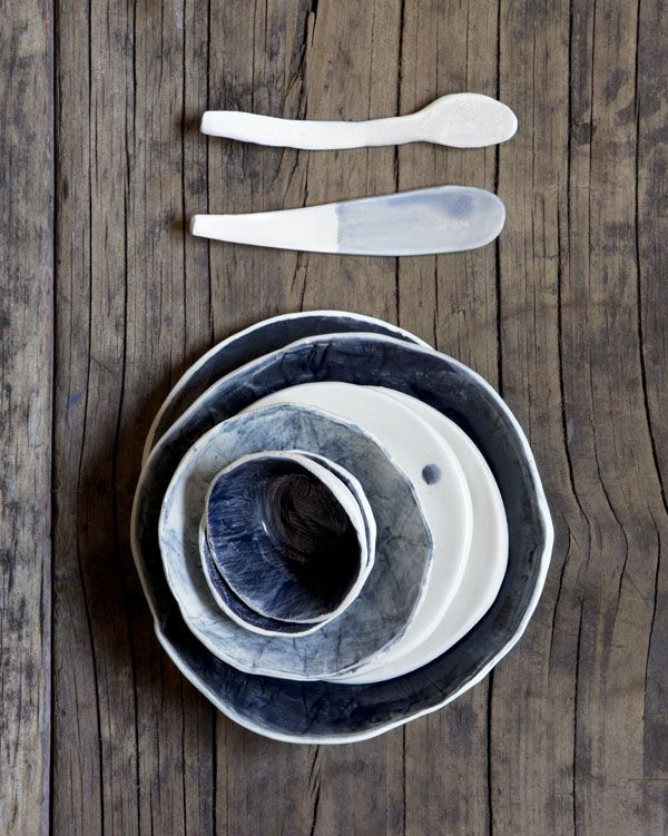 Yuniko Studio ceramics. Photo by Angelita Bonetti. - spoons half glazed (use the bottom half to prop up in a stand in the kiln to fire)