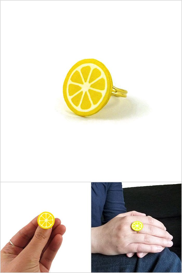 Yellow lemon slice ring, gourmand fancy lemon ring, plastic fruit ring (recycled CD) - made on order by @savousepate #ecofriendly #ecoresponsible  #recycling #upcycling
