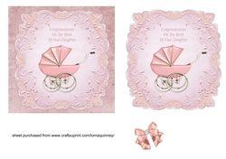 Pink Pram Baby Girl Card on Craftsuprint - View Now!