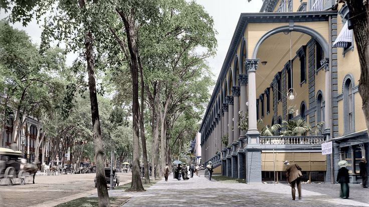 Broadway st saratoga springs ny 1908 colorized by for Where to stay in saratoga springs ny