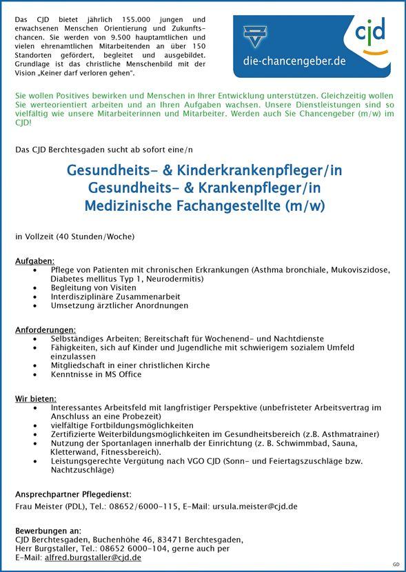 Gesundheits- & Kinderkrankenpfleger/in Gesundheits- & Krankenpfleger/in Medizinische Fachangestellte (m/w)