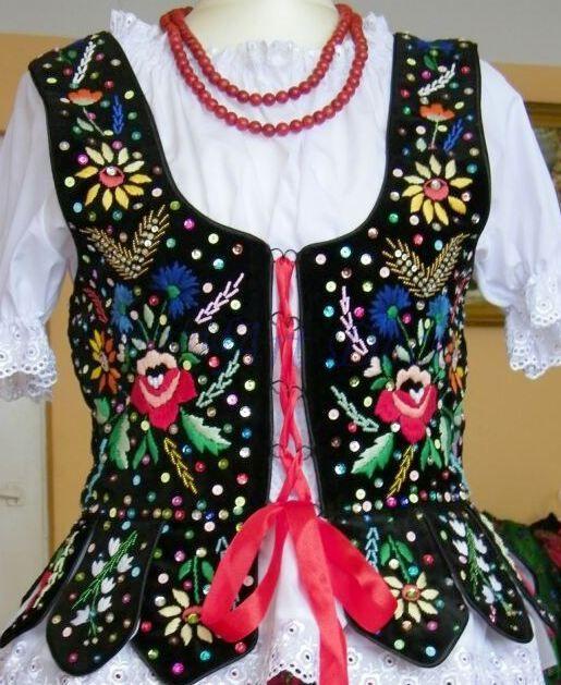 Gorset Kubrak krakowski ręczny haft - strój ludowy #1 Polish Folk Embroidery / Polish Folk Art / Ideas for Crazy Quilting