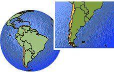 Chile localización zona horaria mapa fronteras