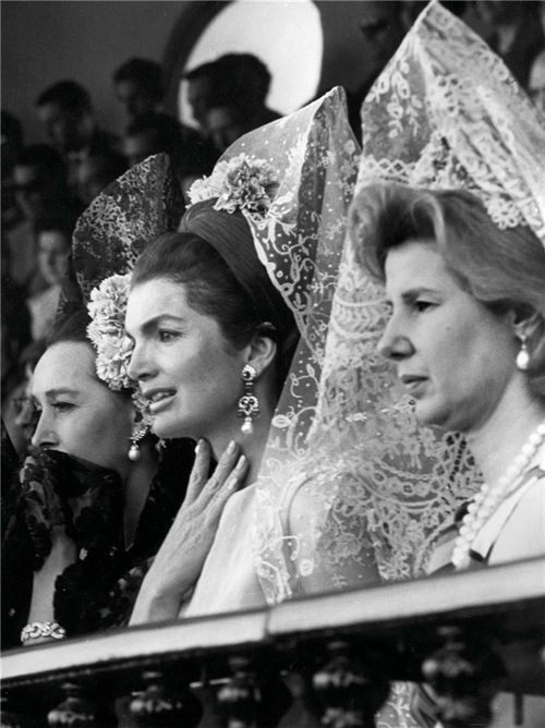 O.S.S./C.I.A. agent Aline, Countess of Romanones, Jackie Kennedy and Cayetana Duchess of Alba in Sevilla, 1966.