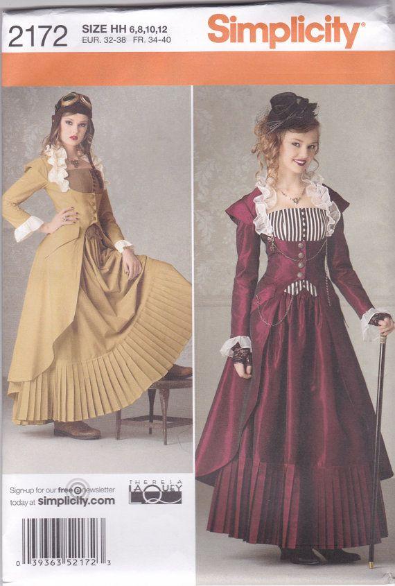 Victoriaanse Steampunk jurk patroon eenvoud 2172 maten 6 8 10 12 ONBESNEDEN
