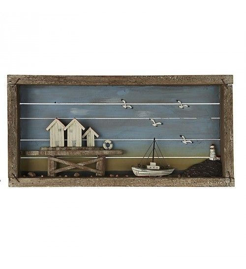 WOODEN WALL DECOR W_SHIP 52X26X5