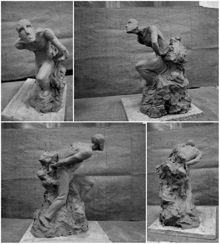 """Композиция в процессе """"Вырывающийся из камня"""" 2016 год #скульптура #композиция #глина #процесс #sculpture #sketch #gley"""
