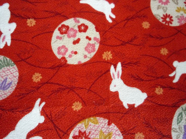 Japanese fabric from my studio----blossoms and bunnies