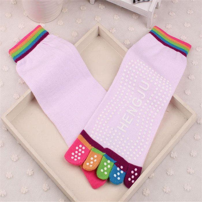Women Girl Yoga Gym Message Non Slip Socks Five Toes Full Grid Foot Deodorant Hosiery at Banggood
