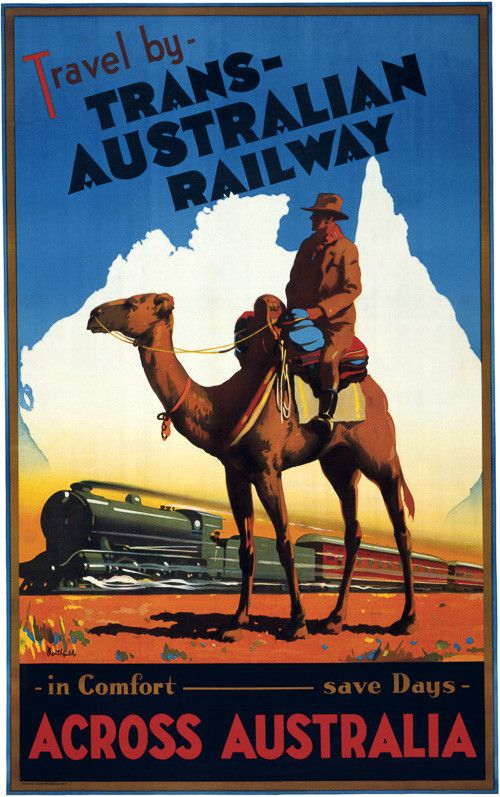 Travel by Trans-Australian Railway across Australia. In Comfort. Save Days. A man on a camel watches as a train speed across the Australian landscape. Vintage Australian travel poster, circa 1930.