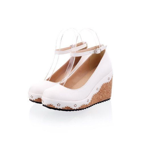 Maymeenth Womens Closed Pointed Toe Wedges Platform PU Soft Material Solid  Pumps, http:/
