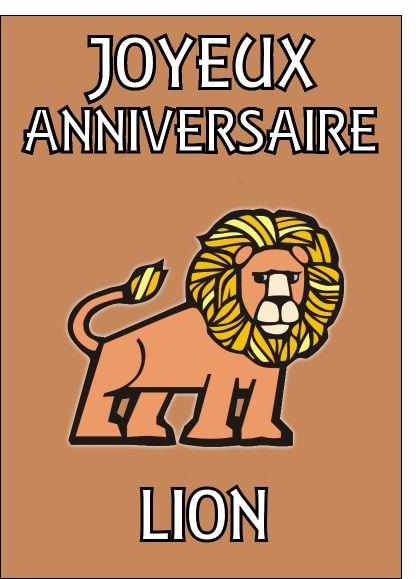 Carte Joyeux anniversaire lion pour envoyer par La Poste, sur Merci-Facteur !