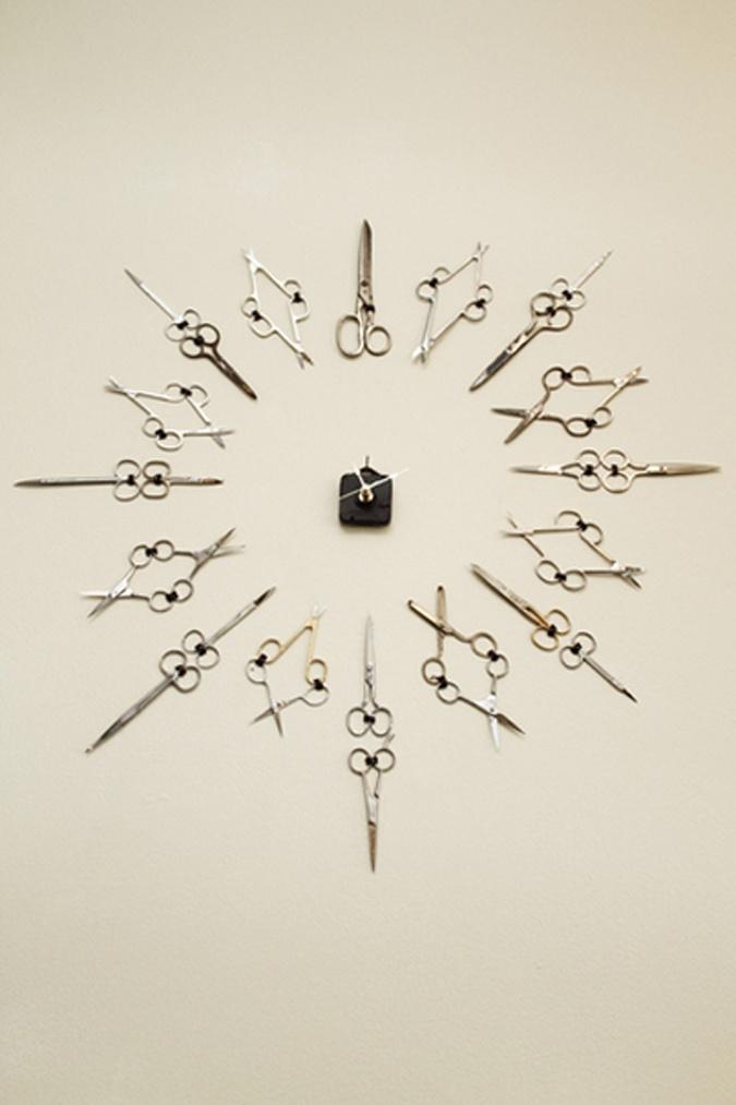 Scissor clock in hair salon with vintage