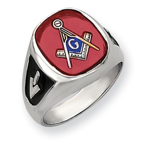 14k White Gold Men's Synthetic Ruby Masonic Ring Y4081M