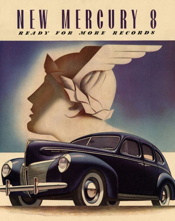 Art Deco Car Posters | Details about Art Deco Poster/Car/New Mercury 8/1940 Ford Mercury-8
