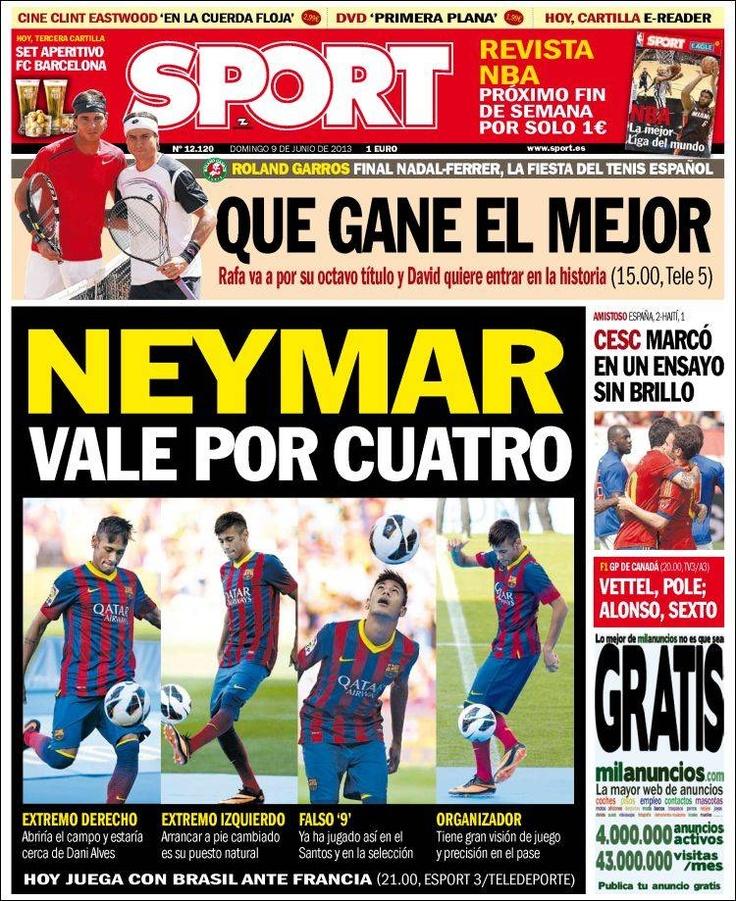 Los Titulares y Portadas de Noticias Destacadas Españolas del 9 de Junio de 2013 del Diario Deportivo SPORT ¿Que le parecio esta Portada de este Diario Español?