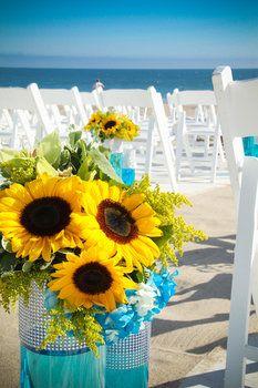 Wedding, Flowers, Ceremony, Blue, Yellow, Beach, Aisle, Sunflowers