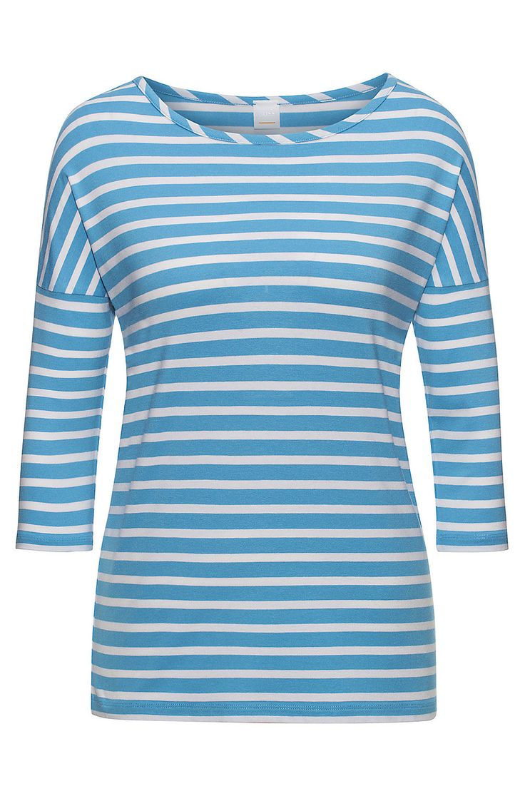 Relaxed-fit striped T-shirt in stretch fabric  Blue from BOSS Orange for Women for £69.00---Kate