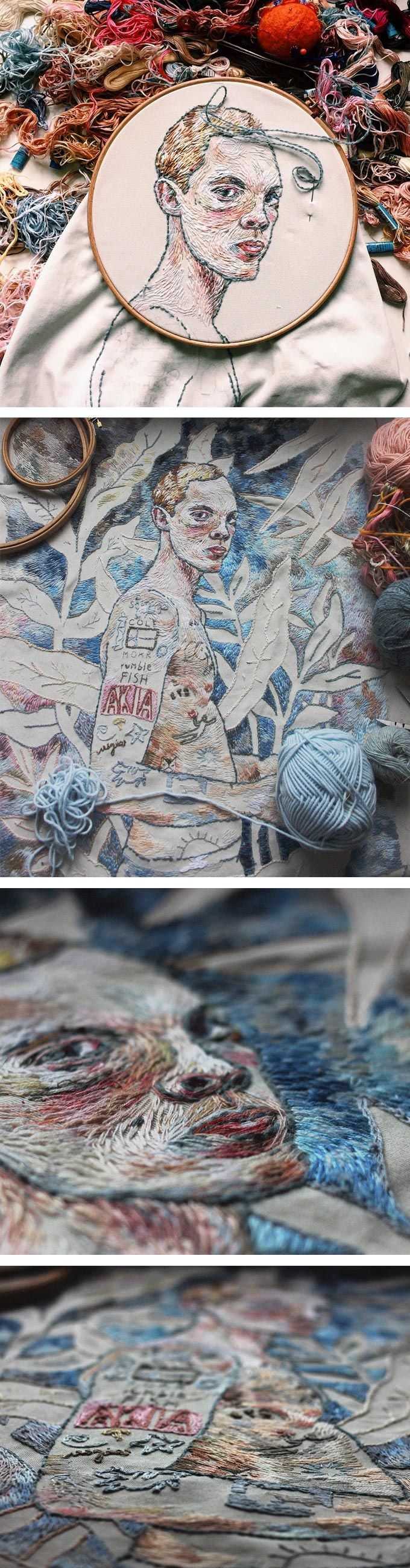 Lisa Smirnova's Embroidered Portrait in an Impressionist Style