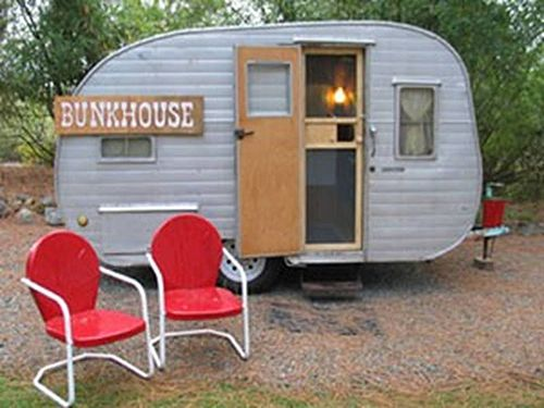 I love this trailer and those chairs!   My Grandparents had ones just like those