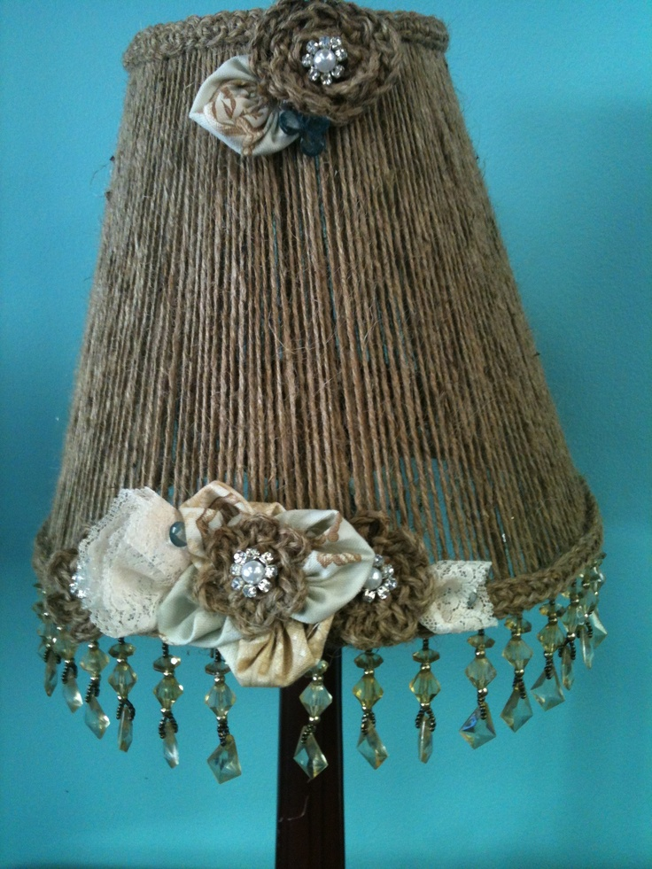 Lamp shade, jute cord, lace,fabric & bling!Jute Cords, Crafts Ideas, House Ideas, Lamps Shades Diy Fabrics, Lace Fabre Bling, Crafty Inspiration, Junk Gypsie, Inspiration 2013, Lace Fabrics