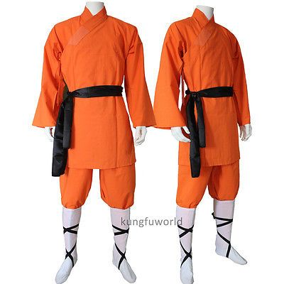 Orange cotton #shaolin monk #uniform #martial arts wing chun tai chi kung fu suit,  View more on the LINK: 	http://www.zeppy.io/product/gb/2/321991978641/