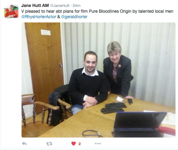 Jane Hutt AM @JaneHutt, V pleased to hear abt plans for film Pure Bloodlines Origin by talented local men @RhysHorlerActor & @geraldhorler  #Labour #Janehutt