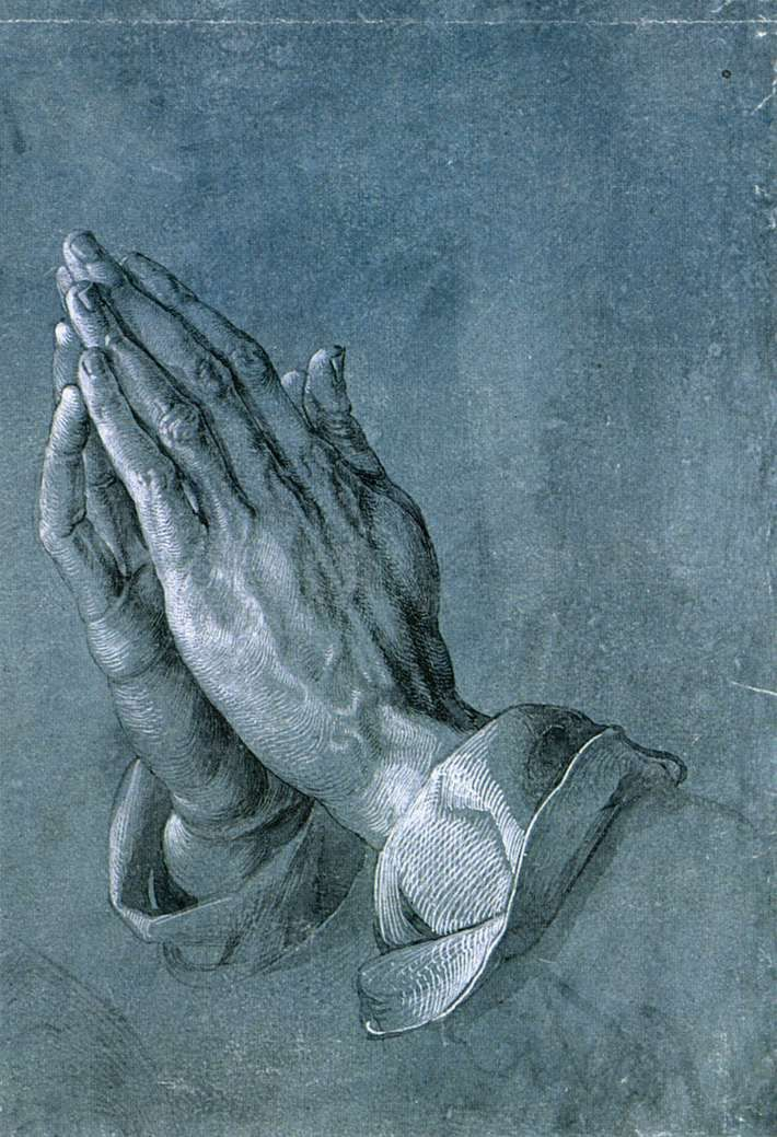 DÜRER, Albrecht  Study of an Apostle's Hands (Praying Hands)  c. 1508  Brush drawing on blue primed paper, 290 x 197 mm