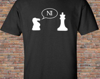 Knights Who Say Ni - Monty Python and the Holy Grail -Chess - Black T-Shirt, Shirt