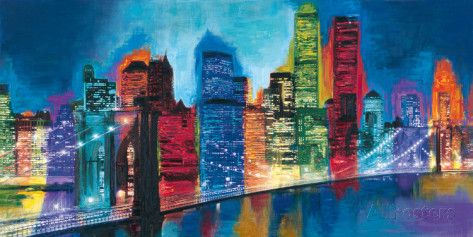Abstract NYC Skyline at Night Posters by Brian Carter at AllPosters.com