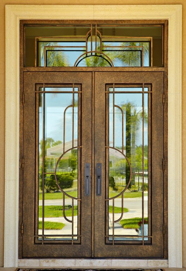 Unique Wrought Iron Glass Entry Door