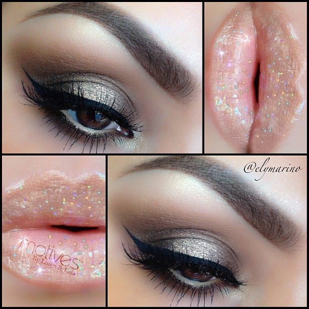 """New look using @Motivescosmetics and @Vegas_Nay lip recipe for some sparkly lipsbest lip combo EVER!! Base/Chocoholic gel liner Lid/Baked Mineral eye shadow Trio in """"Affluent"""" (Dark brown) Crease/Baked Mineral eye shadow Trio in """"Affluent"""" (Medium Brown) Blending/Cappuccino Center of lid/Baked Mineral eye shadow Trio in """"Affluent"""" ( with damp brush apply light champagne color Eyeliner/Little black dress gel liner Lashes/109 Mascara/Motives for Lala """"Black"""" Lips/""""24k"""" lipstick by @Laura…"""