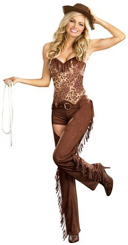 Bangin Hot Cowgirl Costume - fringes, chaps, yeehaww