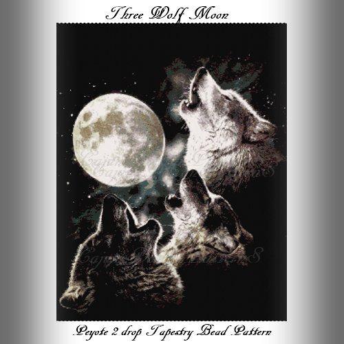 THREE+WOLF+MOON+-Peyote+2+DROP+Tapestry+Bead+Pattern