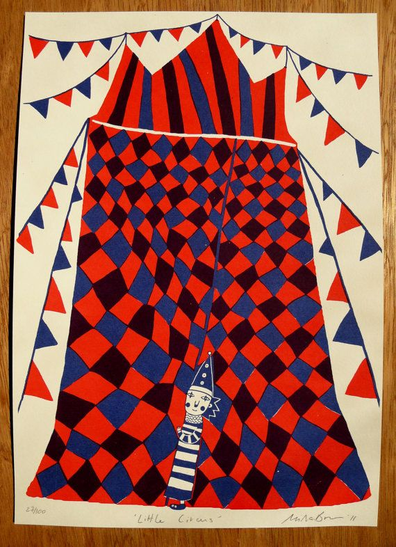 Little Circus - screenprint by Mina Braun    Kickcan & Conkers
