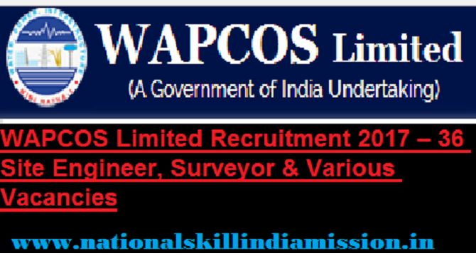 Engineering Jobs  Civil Engineering Jobs-WAPCOS Limited-Recruitment- 36 Engineer, Surveyors & Various Vacancies-Last date 23 February 2017  WAPCOS Job Details :  Post Name : Engineer No of Vacancy : Not Specified Post Name : Surveyors No of Vacancy : Not Specified Eligibility Criteria :  Educational Qualification : For more details click: