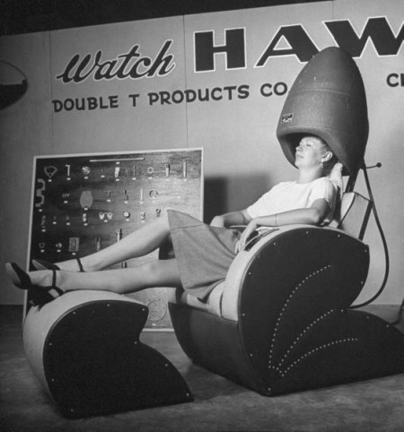 Vintage Hair Dryers ... if a woman wanted a home hair dryer this is what she got! #hairbiz #beautyshop www.OneMorePress.com