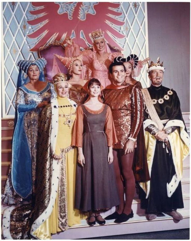 The cast of the 1965 CBS television production of 'Rodgers & Hammerstein's Cinderella': First row, Ginger Rogers, Lesley Ann Warren, Stuart Damon and Walter Pidgeon. Second row, Pat Carroll, Barbara Ruick and Jo Van Fleet. Third row, Celeste Holm.