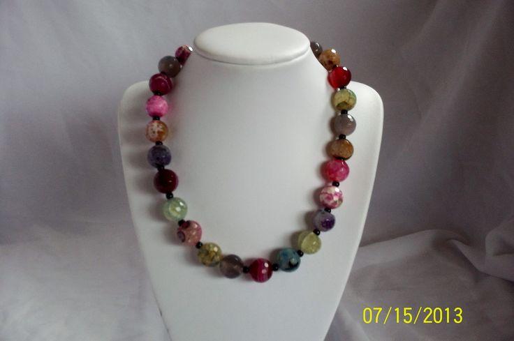Crackle glass multi colour necklace