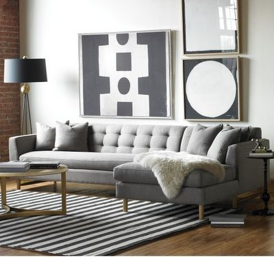 Contemporary Living Room Design With Edward L Shaped Sectional Gray  Upholstered Sofa And Gold Coffee Table Also Black White Stripped Rug Decor  Ideas: Great ...