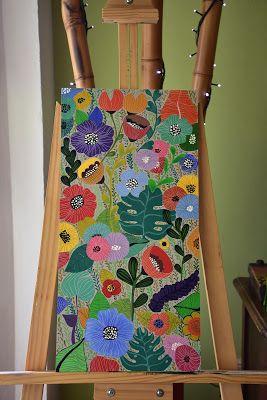 Vanilandia: Modelo: Flora. Cuadro y macetas pintadas