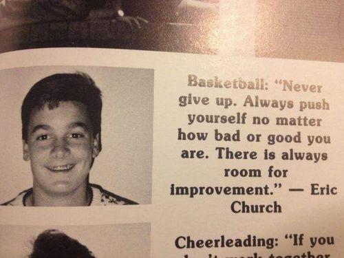 Eric Church's freshman High School yearbook photo and quote.