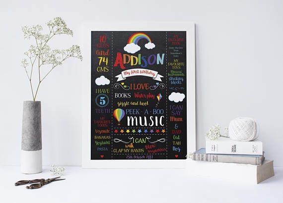Rainbow Baby Birthday Milestone Poster 1st Birthday Print