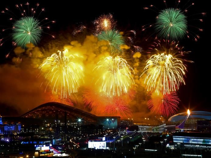 Fireworks on display over the Olympic Park during the Opening Ceremony of the Sochi 2014 Winter Olympics at Fisht Olympic Stadium